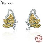 BAMOER 100% 925 Sterling Silver Dancing Butterfly Yellow CZ Exquisite Stud Earrings for Women Sterling Silver <b>Jewelry</b> SCE369