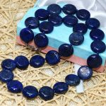 Trendy natural apis lazuli natural stone 12mm fashion beautiful round cake coin beads necklace <b>making</b> 18inch MY5273