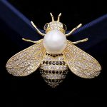 Luxury Brand Pearl Bees brooches <b>jewelry</b> for men Fine Copper pin brooch men's wedding hijab pins cubic zircon broches <b>accessory</b>