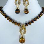 Prett Lovely Women's Wedding shipping> >10MM tiger's eye beads earring set silver-<b>jewelry</b>