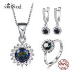 Shineland Elegant Flower MultiColor Cubic Zirconia 925 Sterling <b>Silver</b> Jewelry Sets For Women Luxury <b>Earring</b>/Necklace/Ring Sets