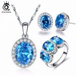 ORSA JEWELS Fashion Silver Color Earrings Ring <b>Necklace</b> <b>Jewelry</b> Sets with Big Shiny 2.2 Carat Ocean Blue Cubic Zirconia OS105