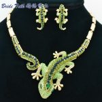 Classic Animal Woman Gecko Lizard <b>Necklace</b> Earring Sets with Alloy and Green Rhinestone Crystals Fashion <b>Jewelry</b> sets FA3274