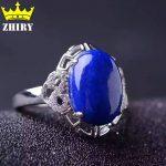 Natural Genuine Lapis Lazuli stone ring Solid 925 <b>sterling</b> <b>silver</b> Woman <b>jewelry</b> rings blue gems