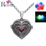 Noctilucence Glow Beads <b>Antique</b> Silver Layers Heart Shaped Locket Pendant Necklace Aromatherapy Essential Oil Diffuser <b>Jewelry</b>