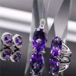 Amethyst <b>jewelry</b> set 925 <b>silver</b> inlaid natural Uruguay purple crystal items set female