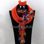 Opaque Orange Crystal Beads for Women <b>Handmade</b> Flower African Wedding <b>Jewelry</b> Nigerian Statement Necklace Free Shipping ABK176