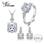 JewelryPalace 9.5ct Cushion Cut Cubic Zirconia Statement Rings Pendant Necklaces Hoop <b>Earrings</b> Jewelry Sets 925 Sterling <b>Silver</b>