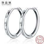 Shipinwei <b>Fashion</b> 925 Sterling Silver Circle Hoop Earrings for Women Girl Geometric Crystal Round Earring Party <b>Jewelry</b> Gift