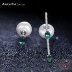 ANFASNI New Luxury 925 Sterling Silver Women Long Bridal <b>Wedding</b> Imitation Pearl Earrings With Green CZ Trendy Brincos <b>Jewelry</b>