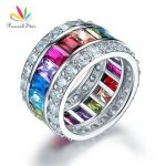Peacock Star Multi-Color Stone Band <b>Wedding</b> Anniversary Solid 925 Sterling Silver Ring <b>Jewelry</b> CFR8241