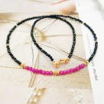Lii Ji Gemstone Natural Black Spinel 1-2mm ,Lab-created Ruby Beads 925 Sterling <b>silver</b> Gold Color Choker <b>Necklace</b> 40cm