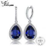 Jewelrypalace Luxury Pear Cut 12.4ct Blue Created Sapphire Dangle Earrings Solid 925 <b>Sterling</b> <b>Silver</b> Fine <b>Jewelry</b> for Women