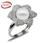 SNH freshwater pearl <b>jewelry</b> pearl ring Natural flower shape 925 sliver pearl ring wholesale