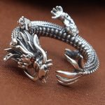 925 Sterling silver <b>jewelry</b> personalized hand retro Thai silver tyrants tyrants dragon personality creative trend opening ring