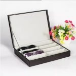 8-slot leather sunglasses glasses storage box unisex top-grade <b>fashion</b> sunglass case holder man women gift YJH004