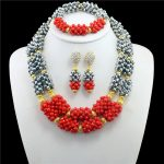 2017 Top Exquisite Dubai Jewelry Set Luxury Gold-color Sliver Red Nigerian Wedding African Beads Jewelry Sets