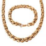 New Arrive Mens Fashion Gold Stainless Steel <b>Handmade</b> Byzantine Necklace Bracelet <b>Jewelry</b> Set 8mm