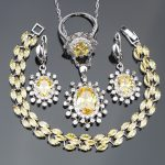 Women Yellow Zircon 925 <b>Silver</b> Costume Bridal Jewelry Sets Earrings/Necklace/Rings Set With Stones Jewelery Christmas Box