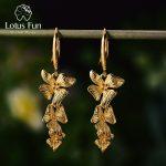 Lotus Fun Real 925 <b>Sterling</b> <b>Silver</b> Natural Original Handmade Fine <b>Jewelry</b> Triple Flowers Fashion Drop Earrings for Women Brincos