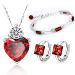 Red Jewelry Sets Sterling <b>Silver</b> Trio Set Nekclace + Earring + <b>Bracelet</b> <b>Silver</b> 925 Christmas Gift Free Shipping
