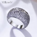 Elegant flower design ring pave crystal fashion women <b>accessories</b> white and gold plate <b>jewelry</b> trendy rings