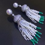 long tassels drop <b>earring</b> 925 <b>sterling</b> <b>silver</b> wtih natural fresh water pearl and cubic zircon trendy fashion women jewelry