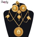 Shamty Ethiopian Bridal <b>Jewelry</b> Sets Pure Gold Color African Wedding Earrings Necklaces Rings Headdress Set Habesha Style A30036