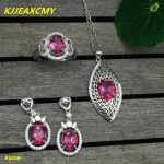 KJJEAXCMY boutique jewels 925 <b>silver</b> inlay natural Pink Topaz Ring Pendant <b>Earrings</b> 3 suit jewelry necklace sent dfgh