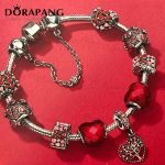 DORAPANG 2018 Valentine's Day Newest 100% 925 Sterling <b>Silver</b> <b>Bracelet</b> Red Heart shaped Charm Bead for Women of Fashion Jewelry