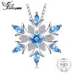 JewelryPalace Snowflake Natural Blue Topaz 925 Sterling <b>Silver</b> Pendant <b>Necklace</b> 45cm Box Chain Fashion Fine Jewelry For Women