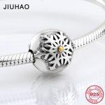 Hot 925 Sterling Silver snowflake clips Lock beads Fit Original Pandora Charm Bracelet <b>Jewelry</b> <b>making</b>