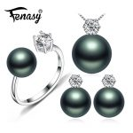 FENASY Pearl <b>Jewelry</b> Brand wedding engagement <b>jewelry</b> sets Natural Pearl pendant Necklace women/stud Earrings,crown ring femle