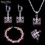New Design Dark Red Crystal <b>Jewelry</b> Sets Classic Crown Bridal <b>Necklace</b> Earrings Rings Bracelets Set For Wedding Party Gift