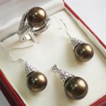 Women's Wedding lady's silver plated 12mm brown shell pearl pendant, earrings and ring(7-9#) <b>jewelry</b> sets for valen