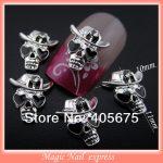 New nail design 3d alloy nail <b>jewellery</b> skull silver nail charms DIY accessories 50pcs/lor nail art supplies
