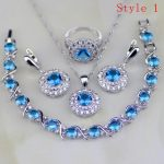 Blue Cubic Zirconia White CZ 925 Sterling <b>Silver</b> Jewelry Sets Earring/Pendant/Necklace/<b>Bracelet</b>/Ring 6 <b>Bracelets</b> Availabled