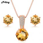 MoBuy Jewelry Accessories Natural Gemstone Six Claws Citrine 925 Sterling <b>Silver</b> 2PCS Fine Jewelry Set Necklaces&<b>Earrings</b> V002EN