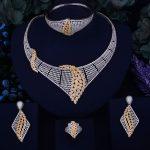 GODKI Luxury Feather Gold <b>Silver</b> Mixed Women Nigerian Wedding Naija Bride Cubic Zirconia Necklace Dubai 4PCS Jewelry Set