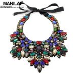 MANILAI Women Luxury Crystal Necklace <b>Handmade</b> Bead Flower Collar Choker Maxi Necklaces Statement <b>Jewelry</b> Bijoux femme