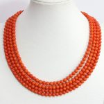 New fashion 4 rows orange artificial coral 6mm high quality round beads chains necklace <b>jewelry</b> <b>making</b> 17-20inch B1452