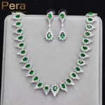 Pera High Quality <b>Silver</b> Color Negerian Women Evening Party Jewelry Sets With Full Marquise Shape Big Green Cubic Zirconia J169