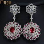 Pera Noble India Women Party <b>Jewelry</b> Big Red Cubic Zirconia Stone Micro Paved Long Round Dangling Earrings For <b>Wedding</b> E147