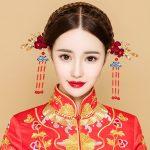 Chinese Ancient Hair Sticks Bridal Wedding Headdress Ornament <b>Handmade</b> Tassel Step Shakes Hairwear <b>Jewelry</b> Flower Hairpins Gifts