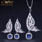 CWWZircons Brand <b>Fashion</b> Butterfly Shape Ladies <b>Jewelry</b> 925 Sterling Silver CZ Blue Crystal Earrings And Necklace Sets T158