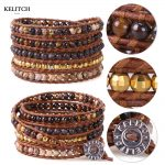 KELITCH Friendship Bracelets <b>Jewelry</b> Bohemian bracelets leather Chain 5 Wrap Synthetic Stone Beaded Bracelets <b>Handmade</b> Weave
