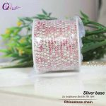 SS6-SS12(2.0mm-3.0mm) 10yards/roll Rose+Pink+AB silver base rhinestone chain for <b>jewelry</b> <b>making</b> DIY beauty accessories