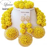 Luxury Opaque Yellow Crystal Ball women <b>necklaces</b> costume <b>jewelry</b> nigerian wedding african beads <b>jewelry</b> set ABC864