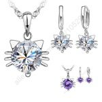 JEXXI Hot Sale!!! New 925 Silver Jewellery Sets Cubic Zircon Pretty Cat Head Kitty Pendant Necklace Hoop Earrings