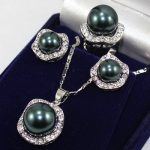 real Women's Wedding Set 10mm &14mm Black South Pearl Earrings Necklace Ring size 7 8 9 silver-<b>jewelry</b>